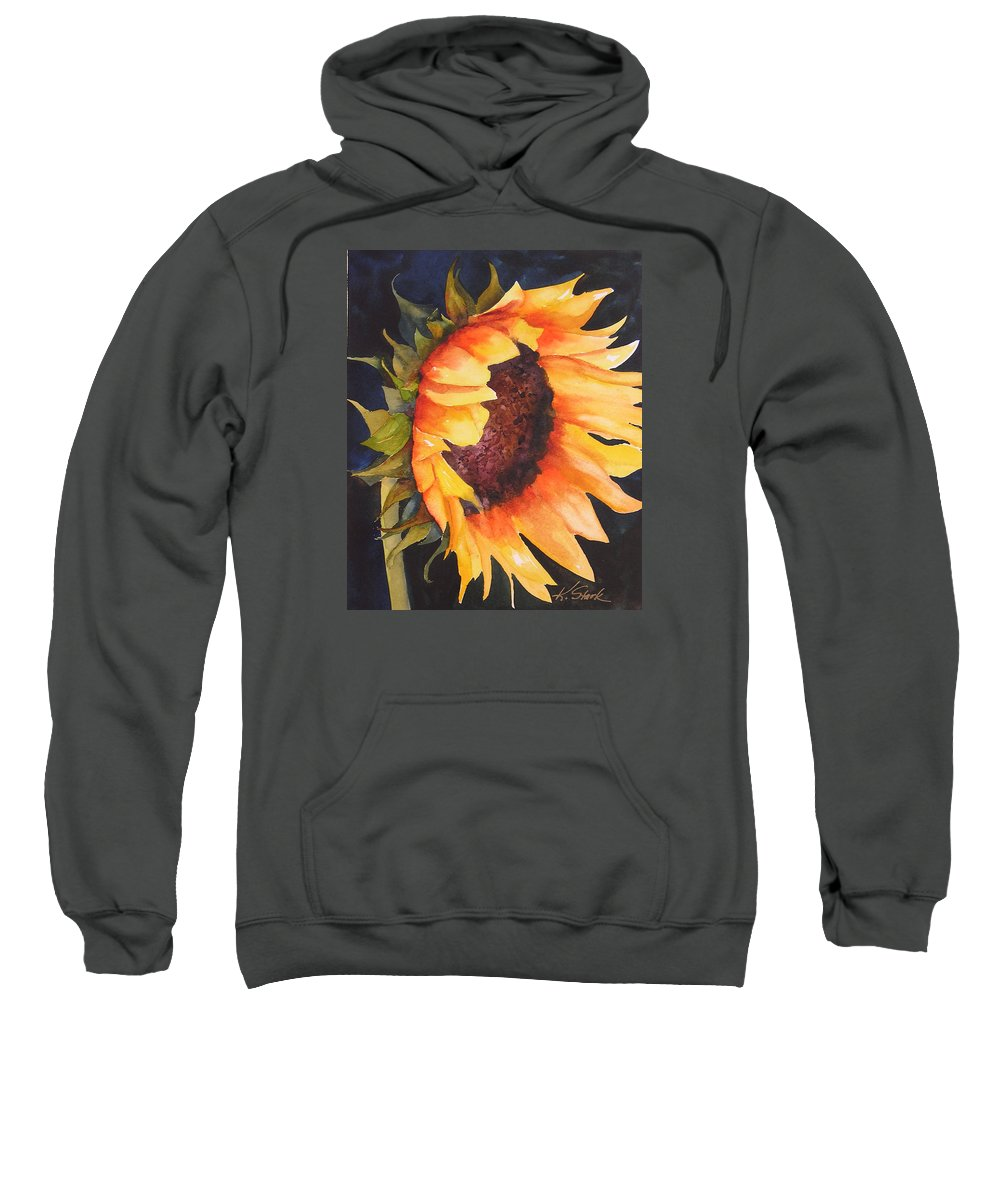 Floral Sweatshirt featuring the painting Sunflower by Karen Stark
