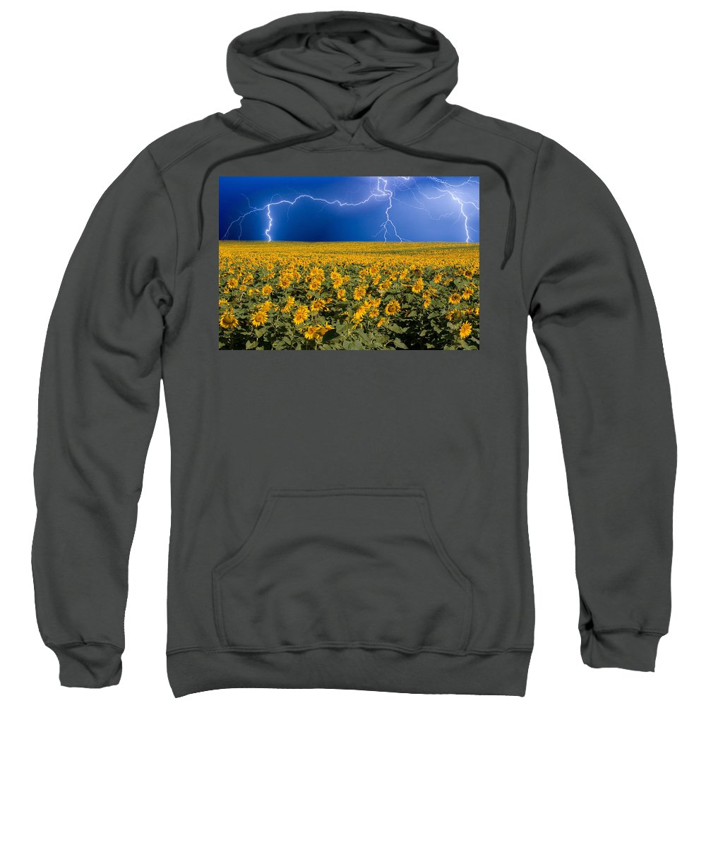 Sunflowers Sweatshirt featuring the photograph Sunflower Lightning Field by James BO Insogna