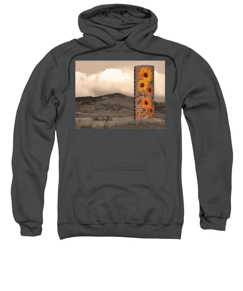 Sunflowers Sweatshirt featuring the photograph Sunflower Silo In Boulder County Colorado Sepia Color Print by James BO Insogna