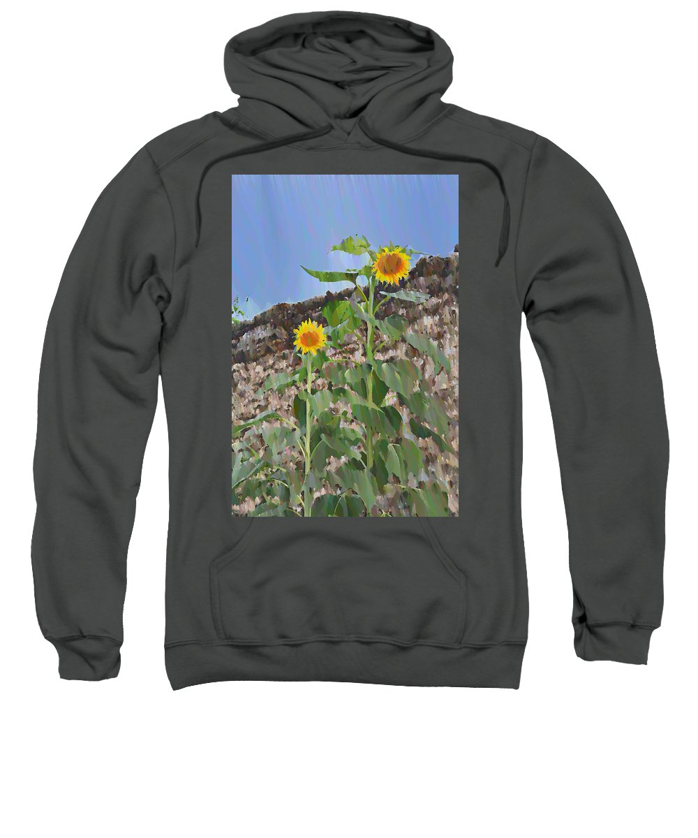 Sunflowers Sweatshirt featuring the photograph Sunflowers And A Stone Wall by Bill Cannon