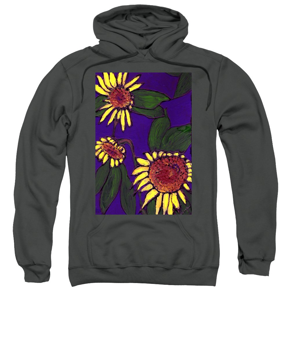 Sunflowers Sweatshirt featuring the painting Sunflowers On Purple by Wayne Potrafka
