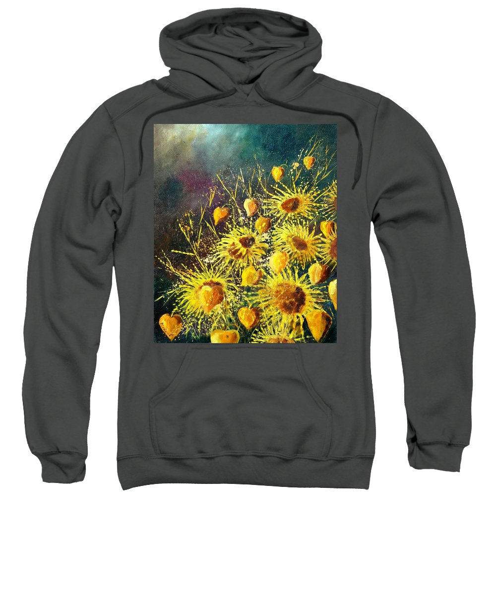 Flowers Sweatshirt featuring the painting Sunflowers by Pol Ledent