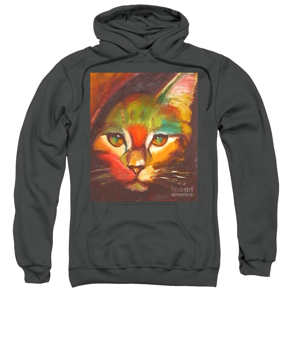 Cat Sweatshirt featuring the painting Sunkist by Susan A Becker