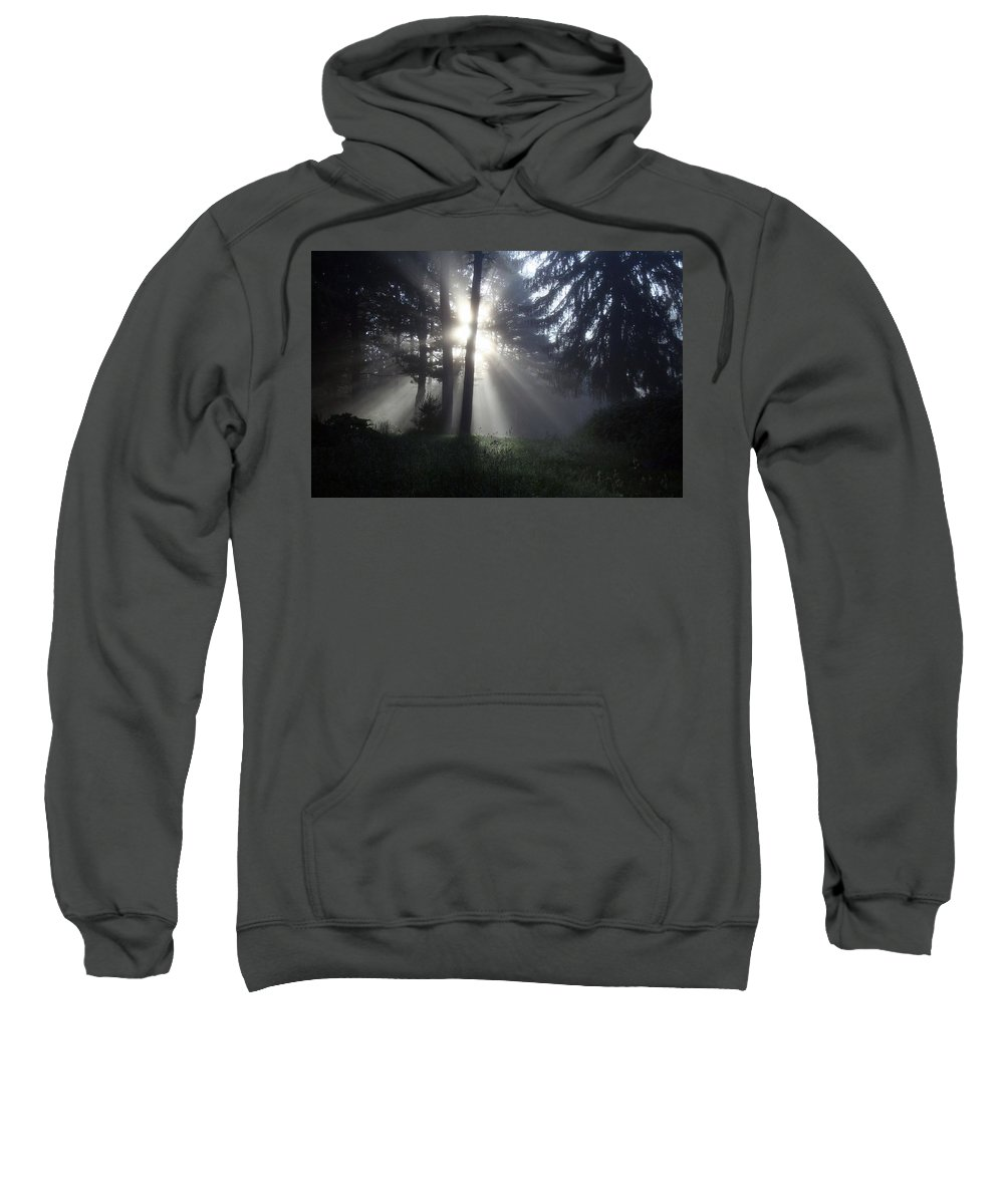 Landscape Sweatshirt featuring the photograph Sunlight Coming Through The Morning Mist 2 by Joshua Macneil