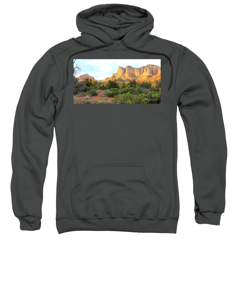 Sedona Sweatshirt featuring the photograph Sunlight On Sedona Rocks by Carol Groenen