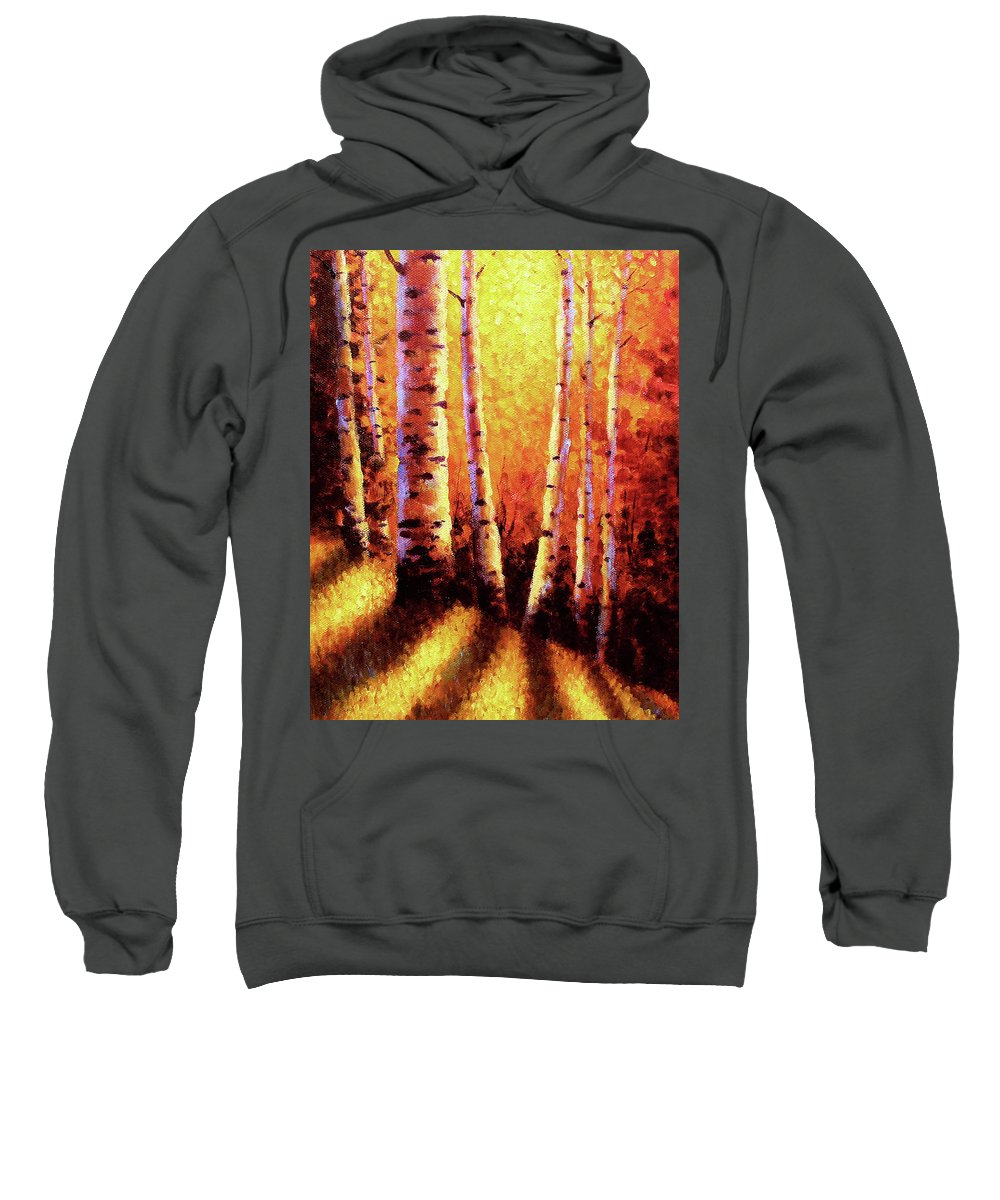 Sunlight Sweatshirt featuring the painting Sunlight Through The Aspens by David G Paul