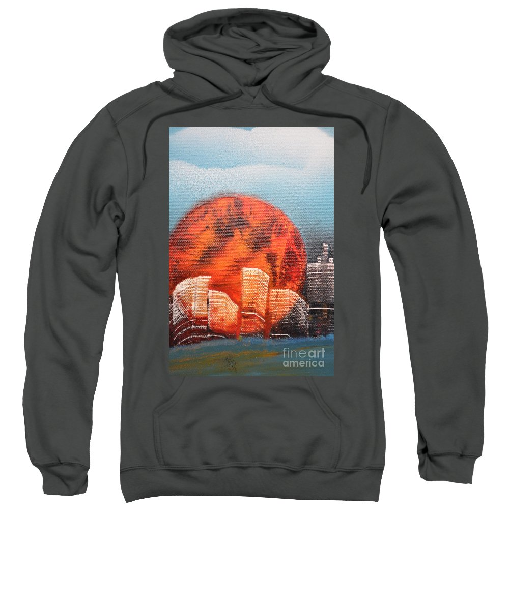 Sun Sweatshirt featuring the painting Sunny Buildings by Zack Anderson
