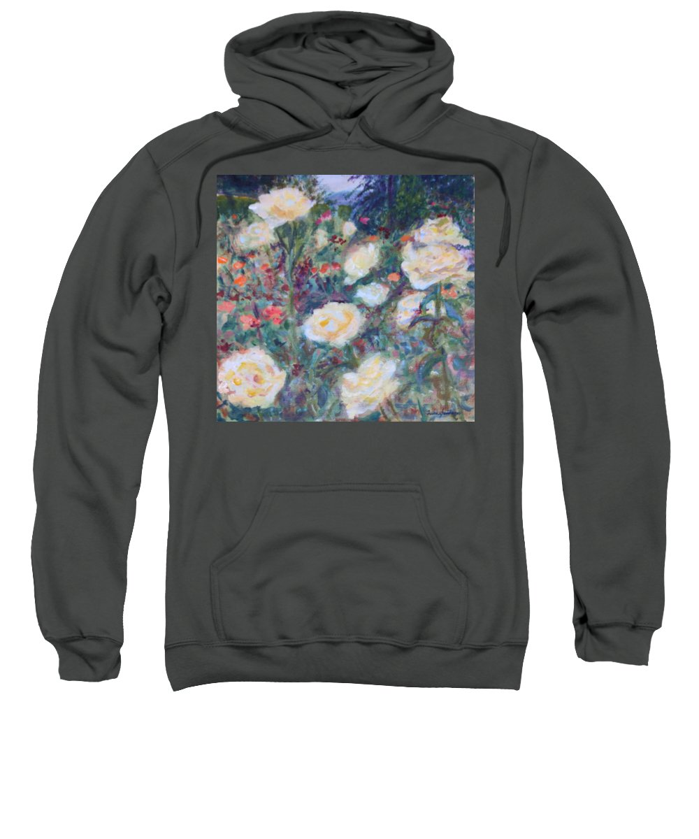 Quin Sweetman Sweatshirt featuring the painting Sunny Day At The Rose Garden by Quin Sweetman