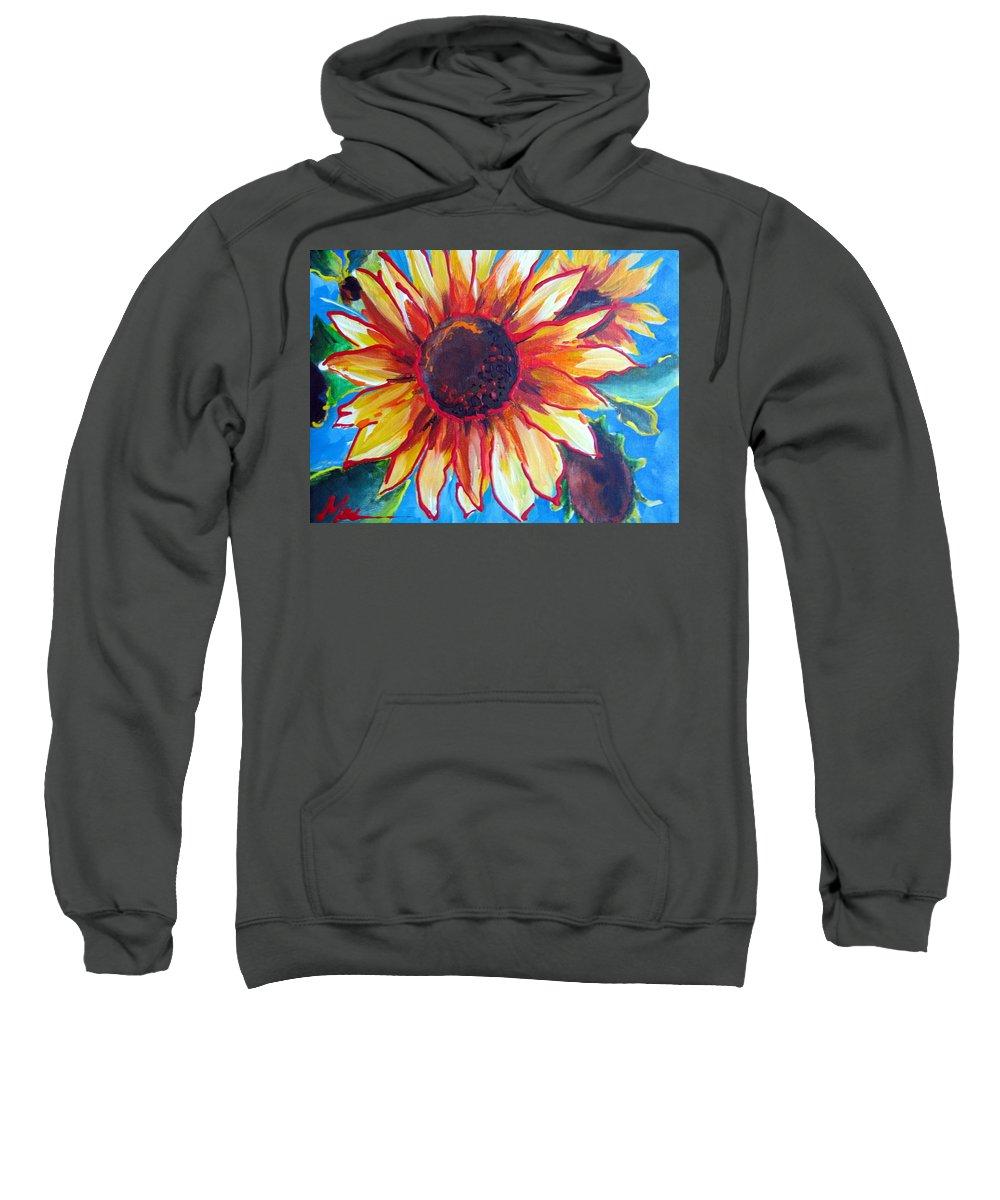 Sunflower Sweatshirt featuring the painting Sunny by Melody Horton Karandjeff
