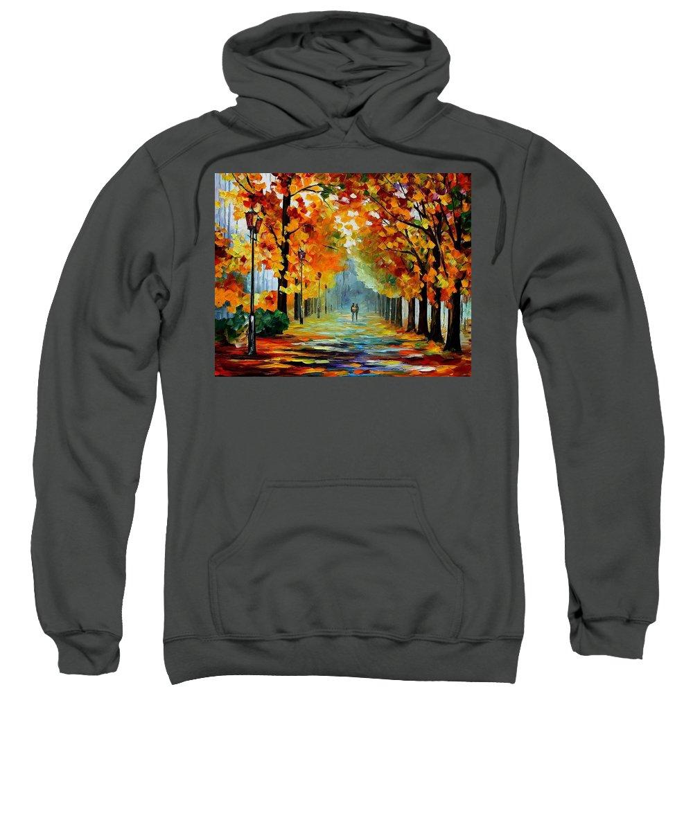Afremov Sweatshirt featuring the painting Sunny October by Leonid Afremov