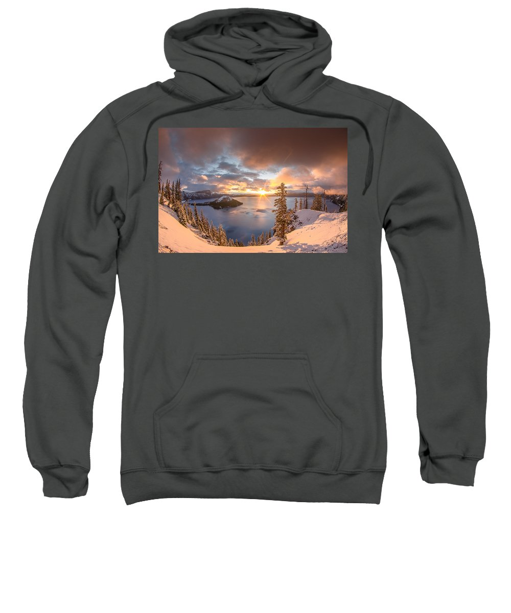 Cascades Sweatshirt featuring the photograph Sunrise After Summer Snowfall by Greg Nyquist