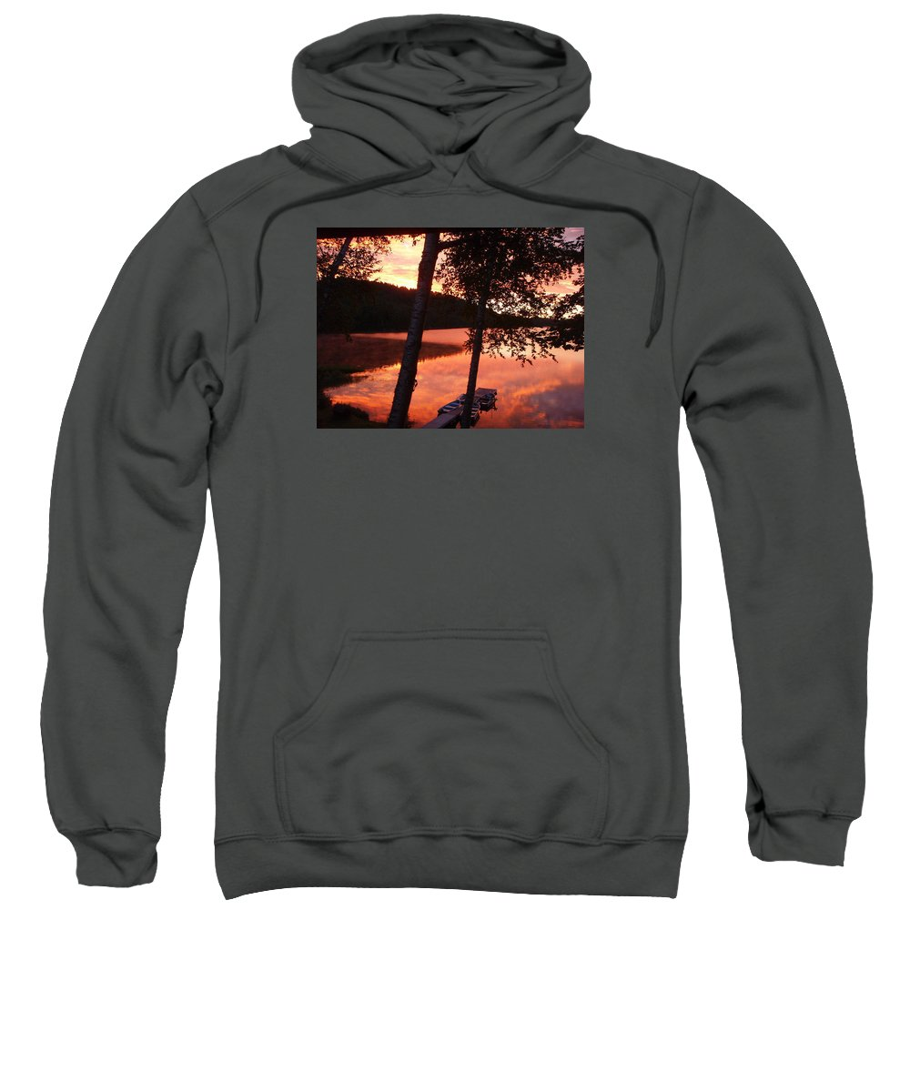 Landscape Sweatshirt featuring the photograph Sunrise And Birch Trees by Mary Lynne Crispo