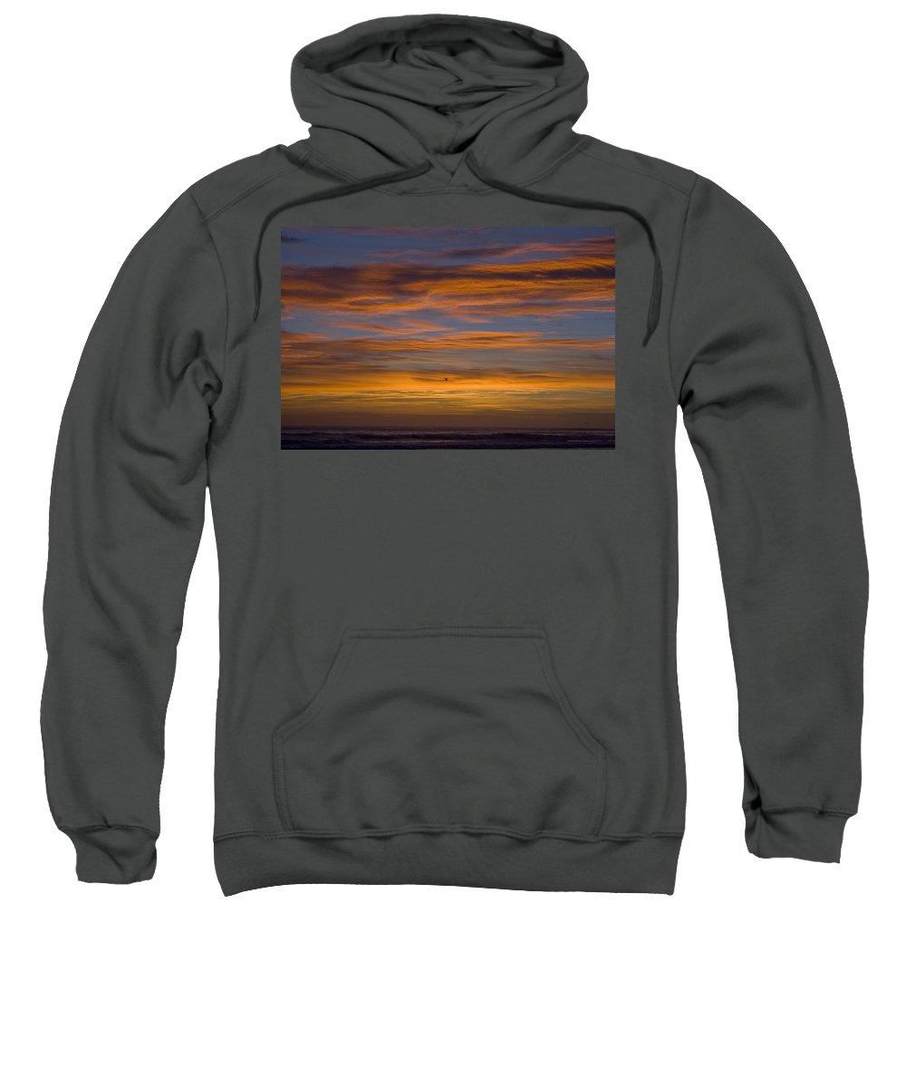 Sun Sunrise Cloud Clouds Morning Early Bright Orange Bird Flight Fly Flying Blue Ocean Water Waves Sweatshirt featuring the photograph Sunrise by Andrei Shliakhau