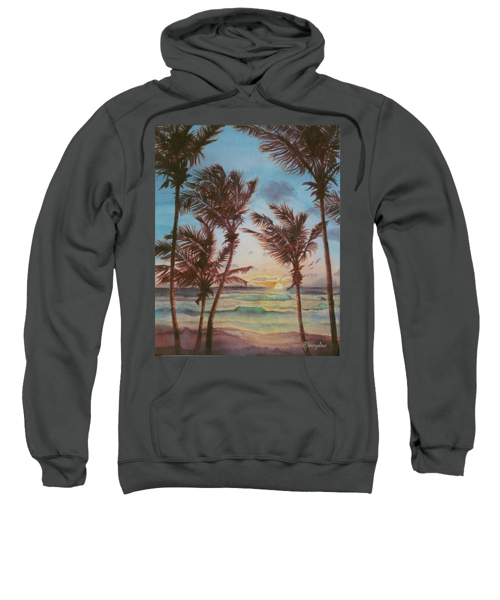 Coconut Tree Sweatshirt featuring the painting Sunrise At Cattlewash 3 by Deborah Younglao