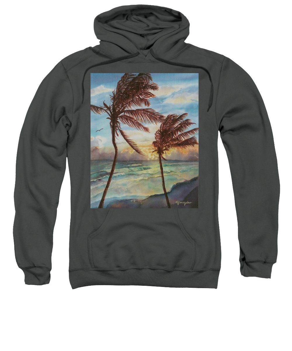 Coconut Tree Sweatshirt featuring the painting Sunrise At Cattlewash 4 by Deborah Younglao