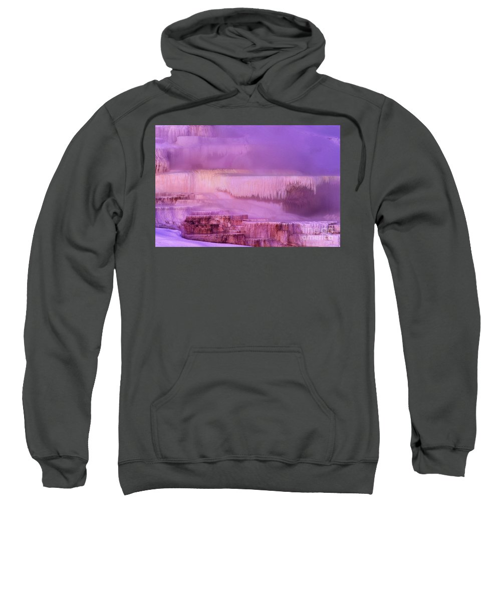 North America Sweatshirt featuring the photograph Sunrise At Minerva Springs Yellowstone National Park by Dave Welling