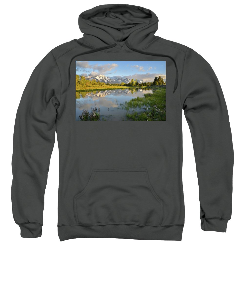Grand Teton National Park Sweatshirt featuring the photograph Sunrise At Schwabacher Landing by Ray Mathis