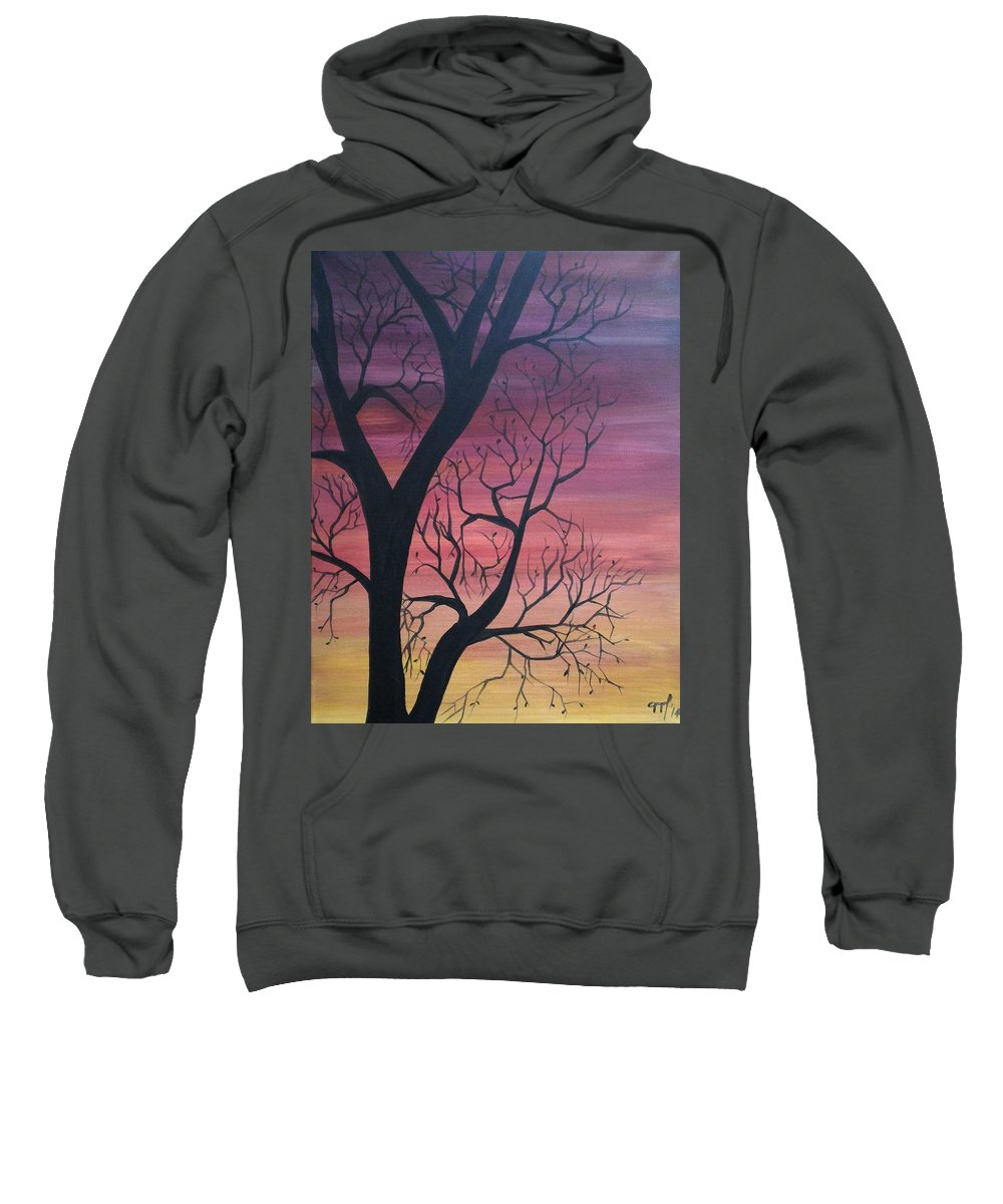 Sunrise Sweatshirt featuring the painting Sunrise From My Window by Martha Sanchez-Hayre