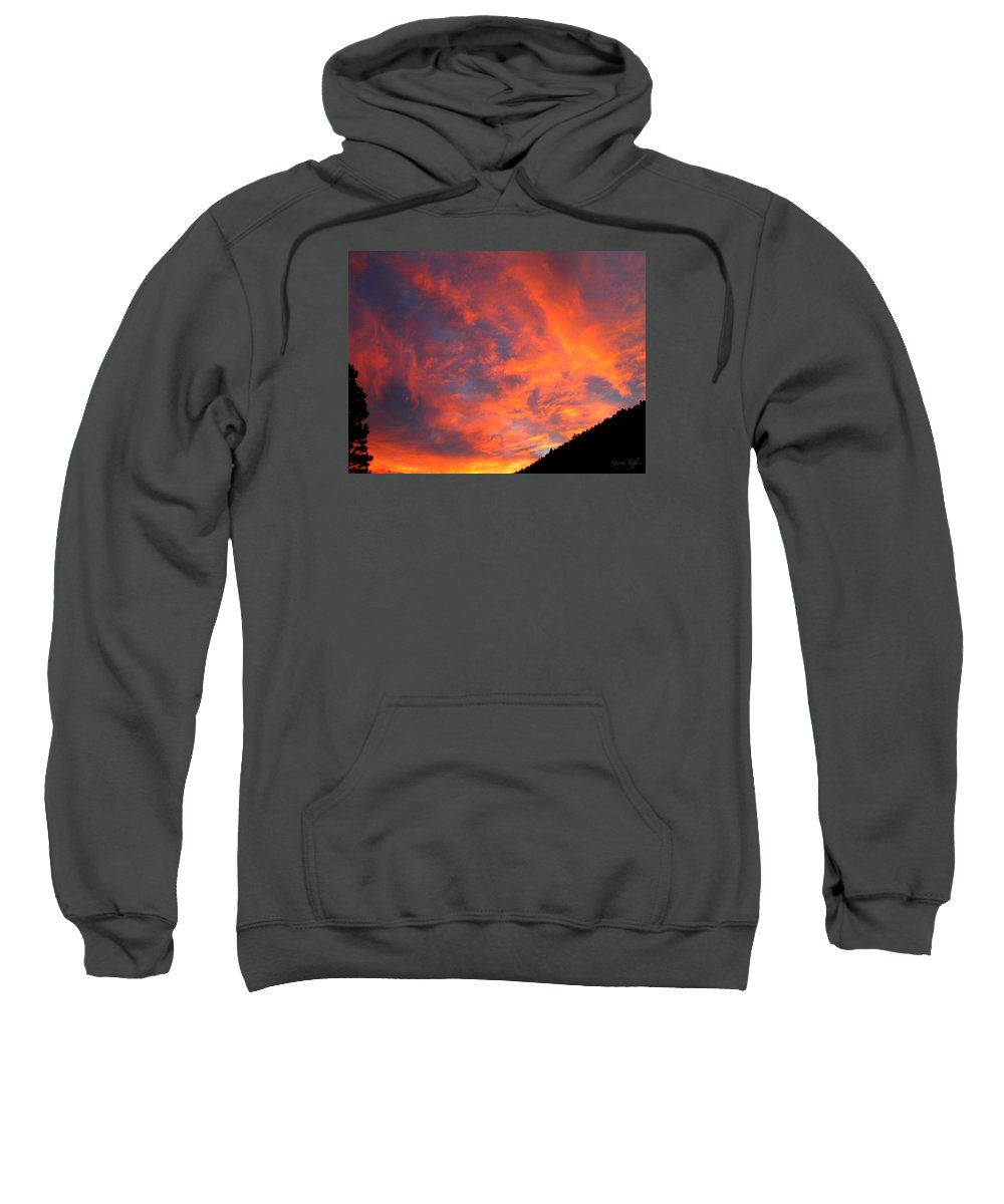 Sunrise Clouds Colorado Rocky Mountains Nature Zen Simple Colorful Big Sky Sweatshirt featuring the photograph Sunrise by George Tuffy