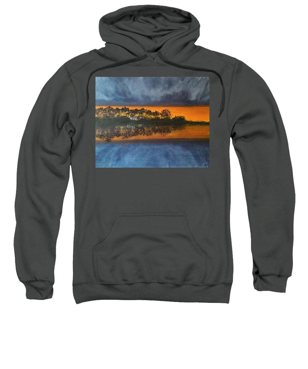 Landscape Sweatshirt featuring the painting Sunrise In The Amazonas by Martha Sanchez-Hayre