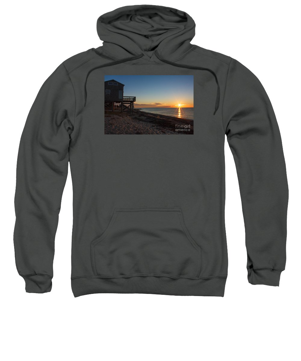 Cottage Sweatshirt featuring the photograph Sunrise On Beach Road, Falmouth by Jim Hayes