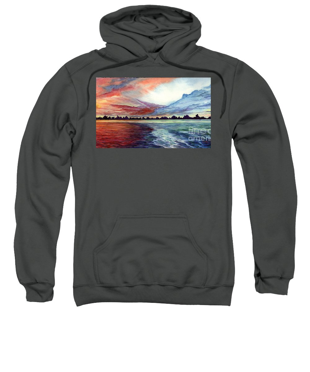 Sunrise Sweatshirt featuring the painting Sunrise Over Indian Lake by Nancy Cupp