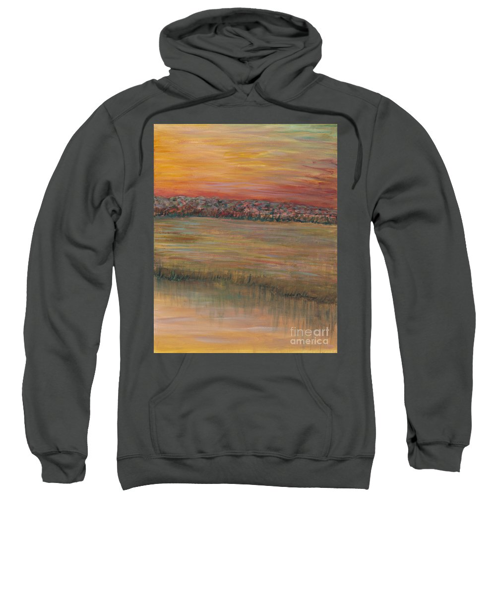 Paintings Sweatshirt featuring the painting Sunrise Over The Marsh Part II by Nadine Rippelmeyer