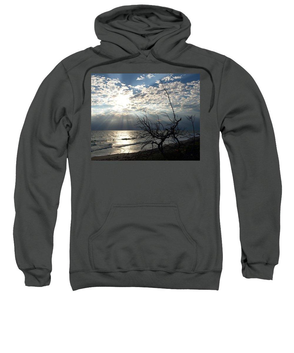 Morning; Sun; Rise; Sunrise; Sunset; Space; Coast; Melbourne; Beach; Florida; Shore; Rays; Fog; Mist Sweatshirt featuring the photograph Sunrise Prayer On The Beach by Allan Hughes