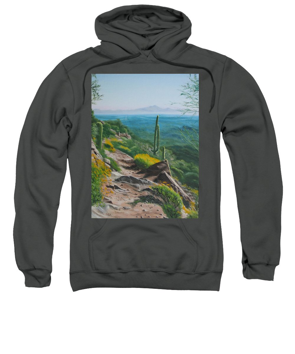 Landscape Sweatshirt featuring the painting Sunrise Trail by Lea Novak