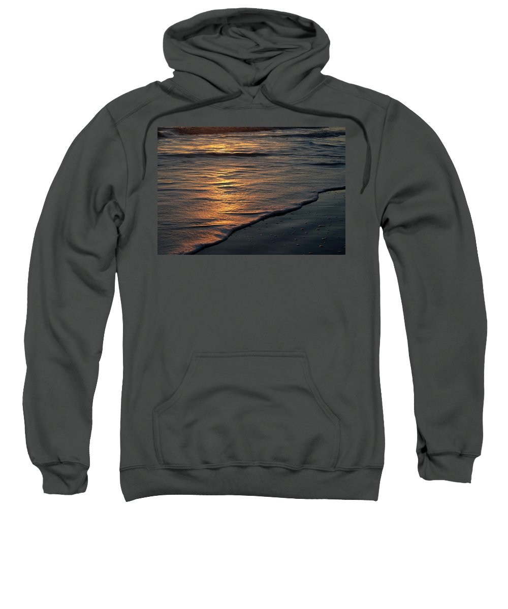 Ocean Beach Sun Sunrise Reflection Wave Tide Bright Orange Gold Water Vacation Sweatshirt featuring the photograph Sunrise Waves by Andrei Shliakhau