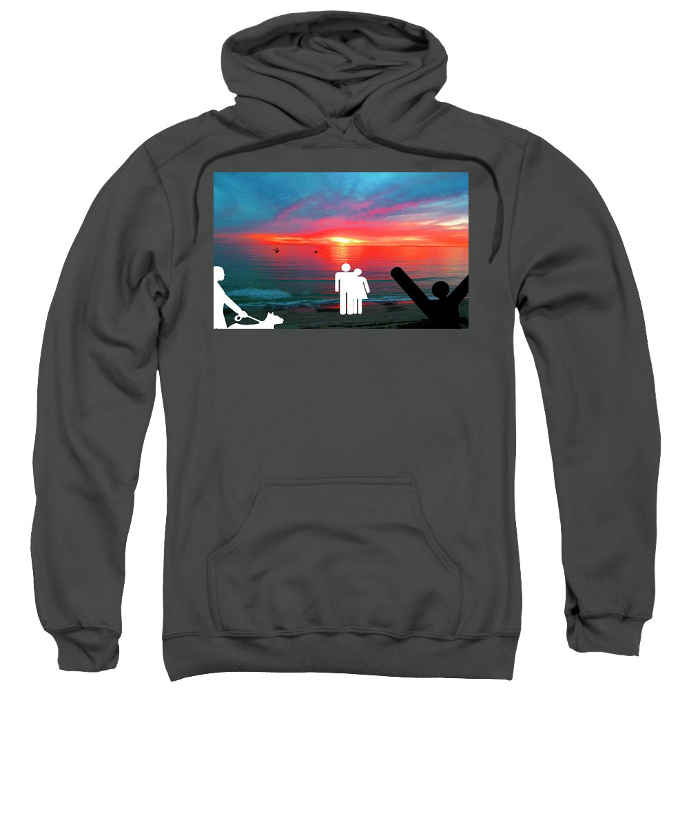 Sunrise Sweatshirt featuring the photograph Sunrise With Shark by Barry Kite