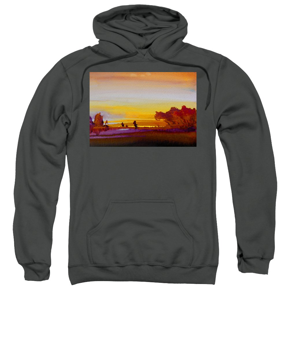 Watercolour Sweatshirt featuring the painting Sunset 07 by Miki De Goodaboom