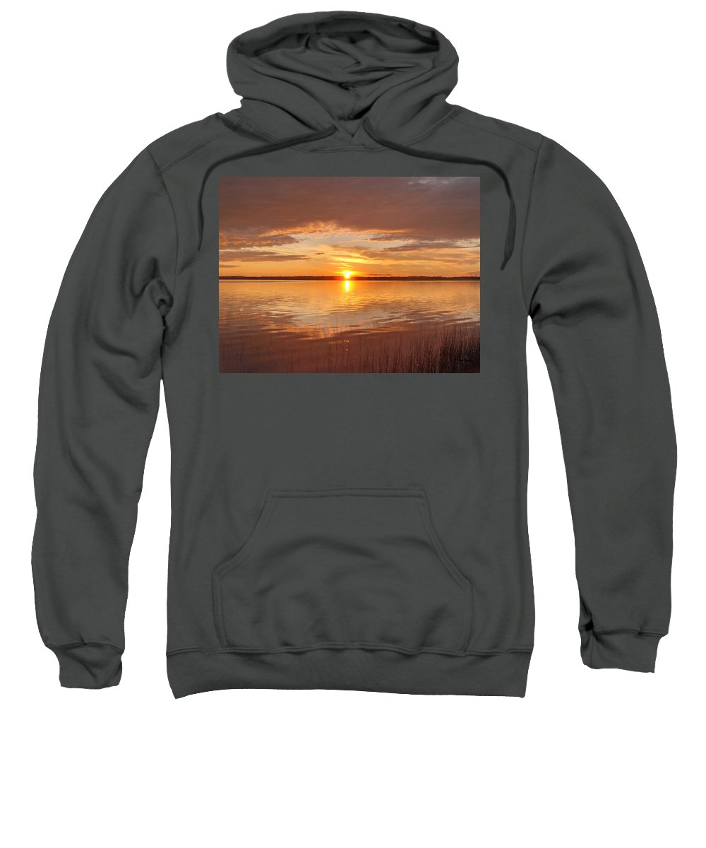 Lake Water Shore Reeds Beach Sunset Sky Sweatshirt featuring the photograph Sunset by Andrea Lawrence