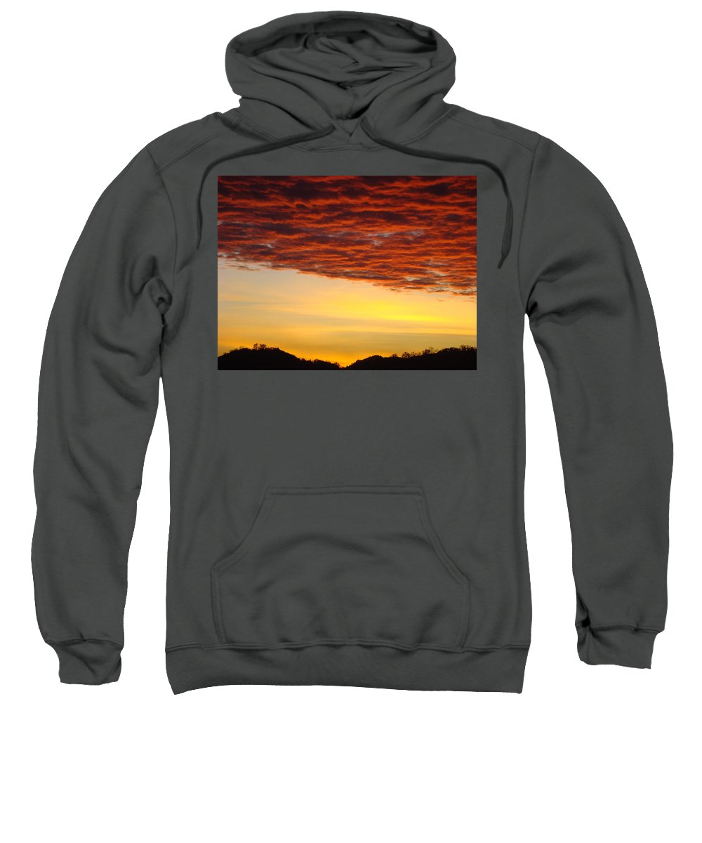 Sunset Sweatshirt featuring the photograph Sunset Art Prints Canvas Orange Clouds Twilight Sky Baslee Troutman by Baslee Troutman