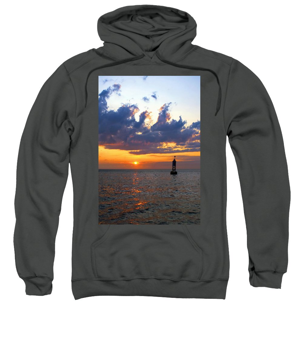 Bell Sweatshirt featuring the photograph Sunset At The Bell Buoy by Charles Harden