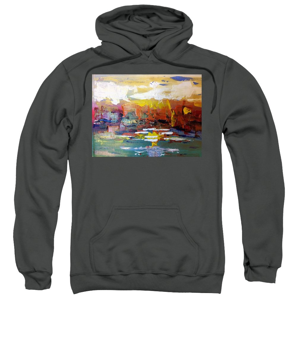 Abstract Sweatshirt featuring the painting Sunset At The Lake by Terri Huffman