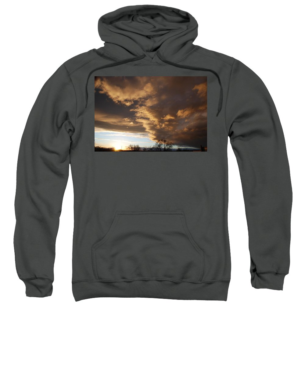 Sunset Sweatshirt featuring the photograph Sunset At The New Mexico State Capital by Rob Hans