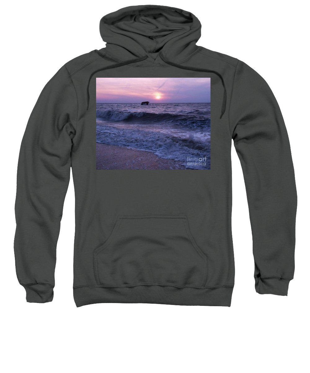 Sunset Sweatshirt featuring the painting Sunset Beach Nj And Ship by Eric Schiabor