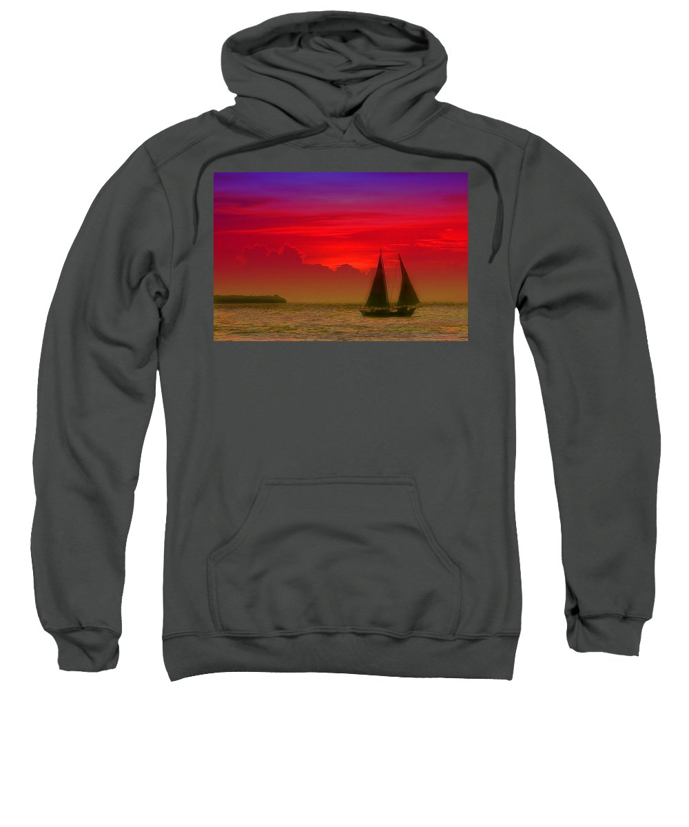 Sunset Photos Sweatshirt featuring the photograph Sunset Behind The Clouds by Susanne Van Hulst