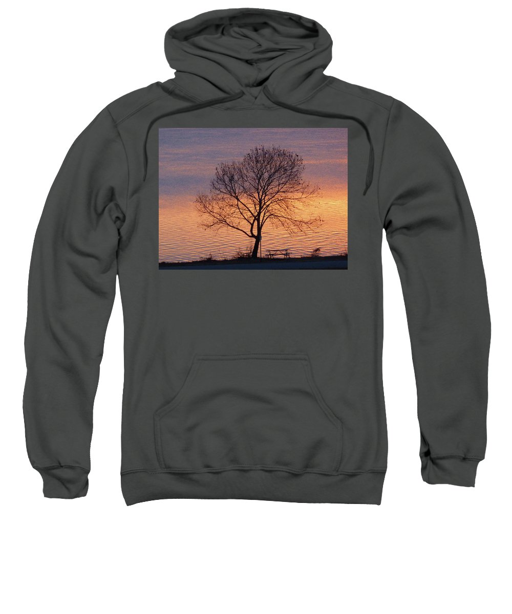 Sunset Sweatshirt featuring the photograph Sunset Bench by Angela Wright