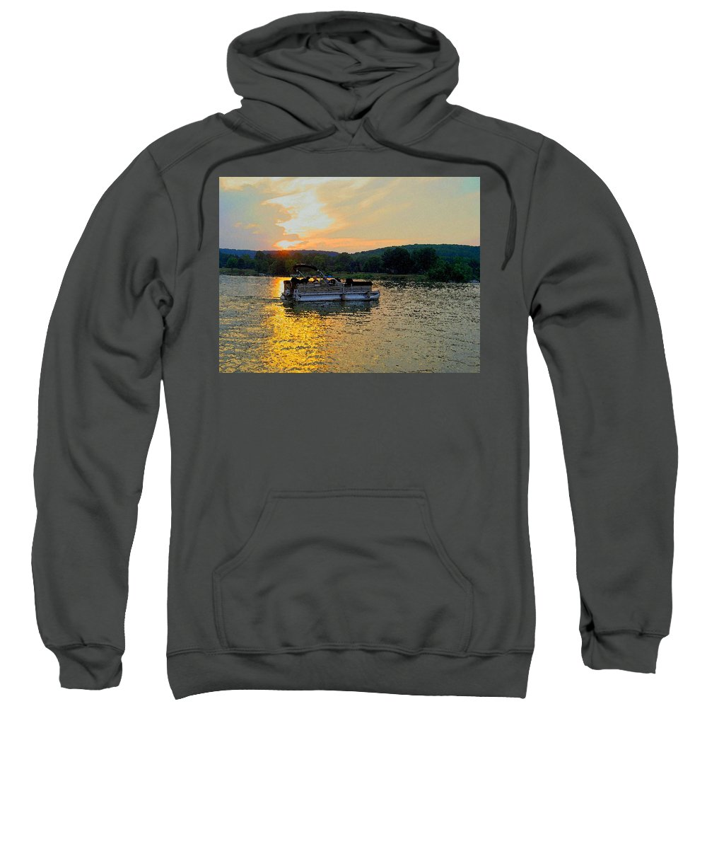 Boat Sweatshirt featuring the photograph Sunset Cruising by Carolyn Jacob