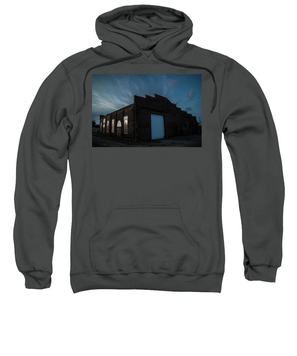 Abandoned Sweatshirt featuring the photograph Sunset Depot by Benjamin Dunlap