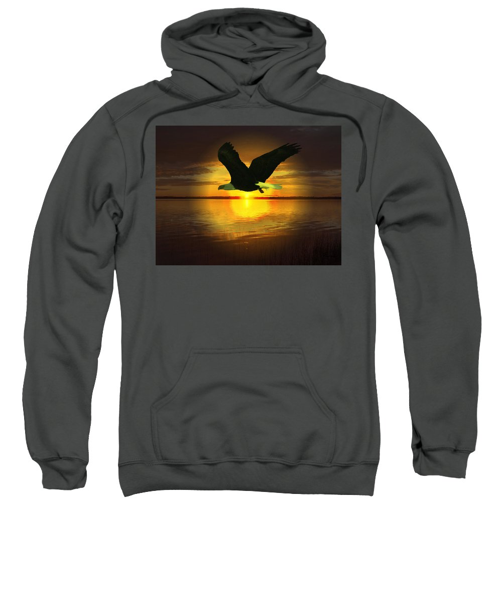 Sunset Eagle Water Lake Birds Of Prey Hunting Flying Skyscape Sweatshirt featuring the photograph Sunset Eagle by Andrea Lawrence