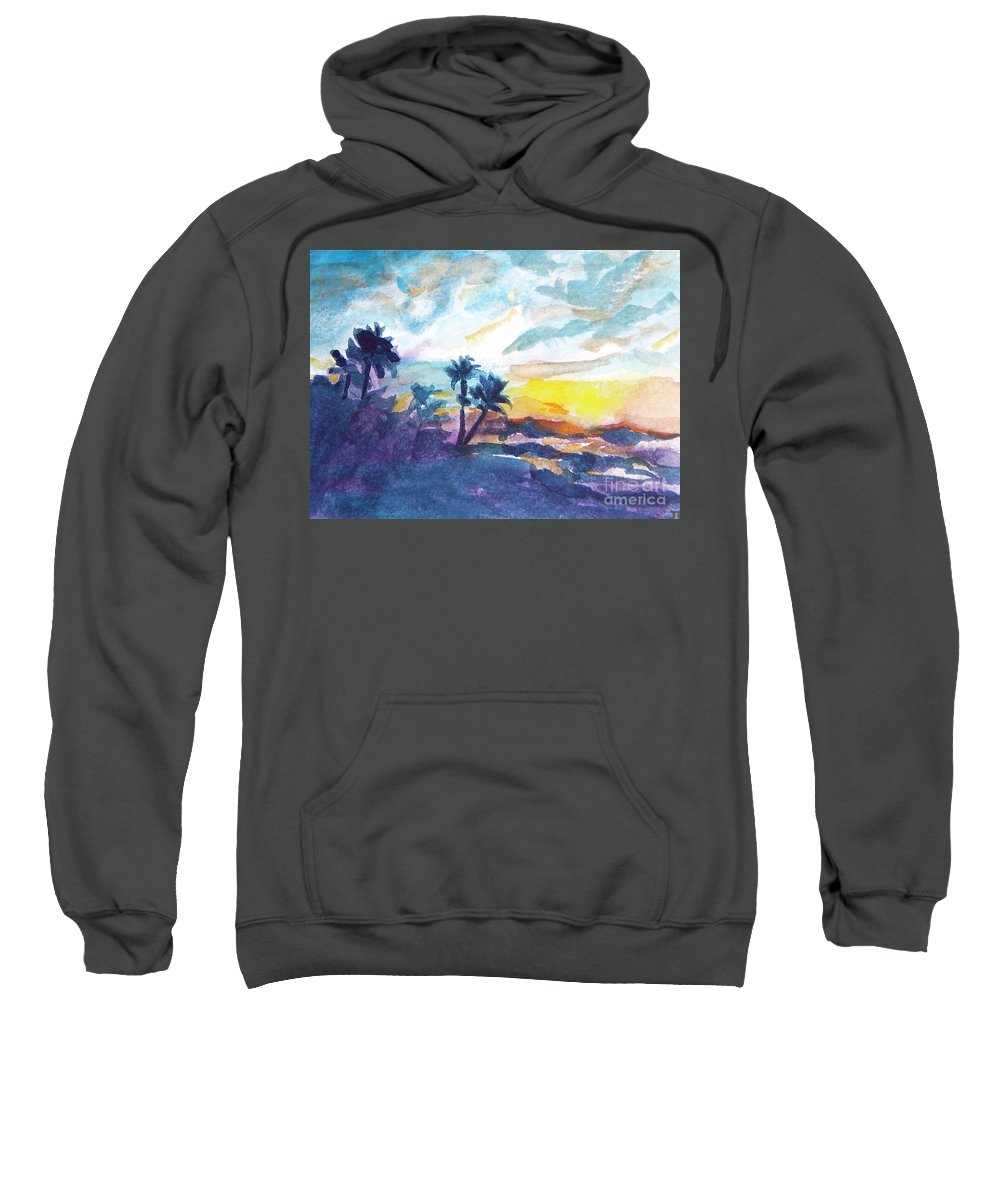 Landscape Sweatshirt featuring the painting Sunset In Hawaii by Jan Bennicoff