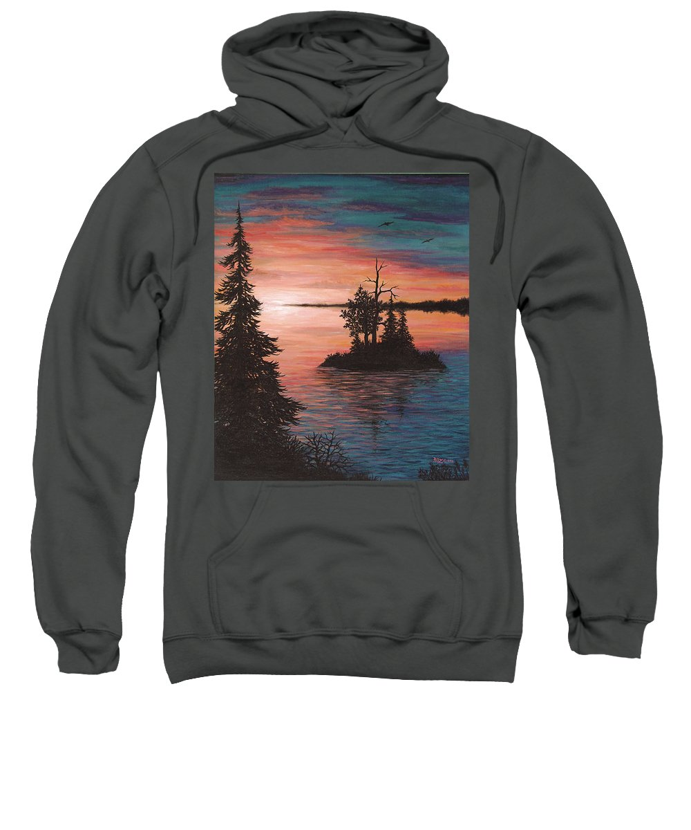 Sunset Sweatshirt featuring the painting Sunset Island by Roz Eve