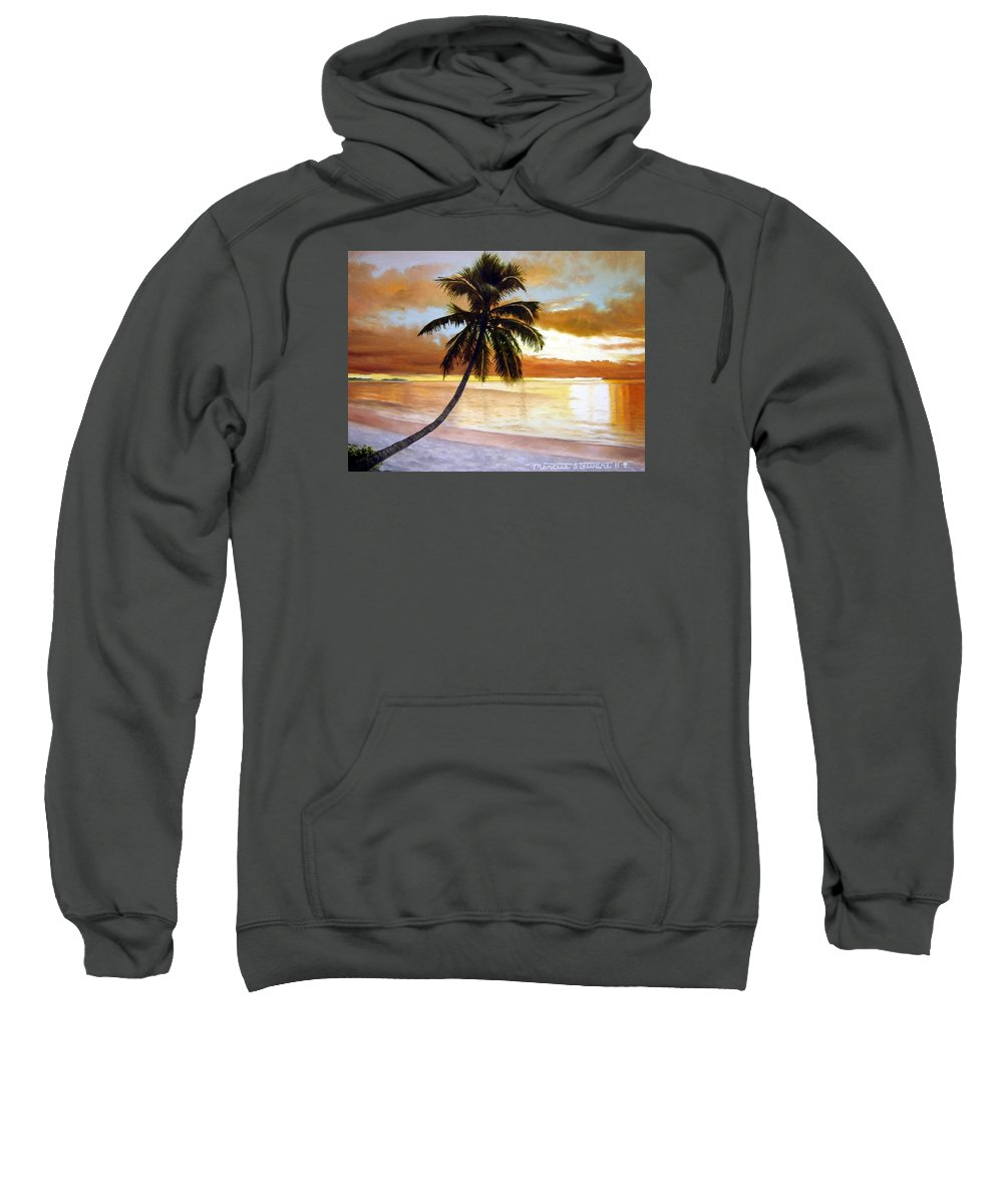 Palm Sweatshirt featuring the painting Sunset by Marc Stewart