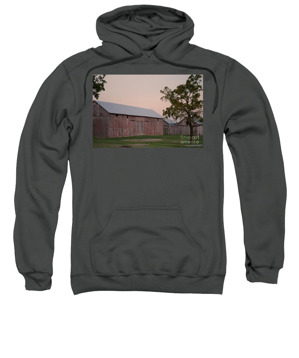 An Old Barn And Out Buildings In Rural Northwestern Ohio. Sweatshirt featuring the photograph Sunset Of My Years by Paulette B Wright
