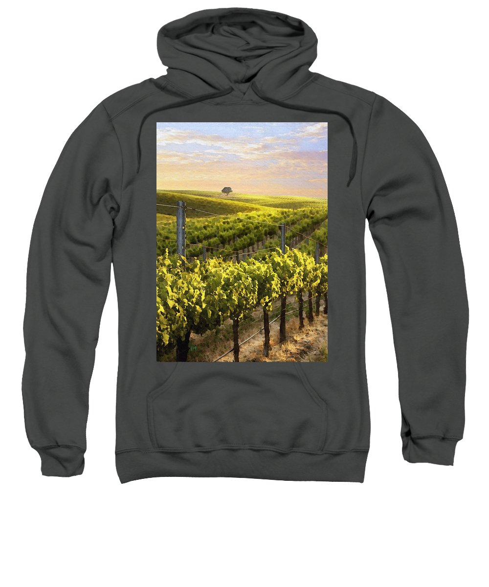 Vineyard Sweatshirt featuring the photograph Sunset On A Vineyard by Sharon Foster