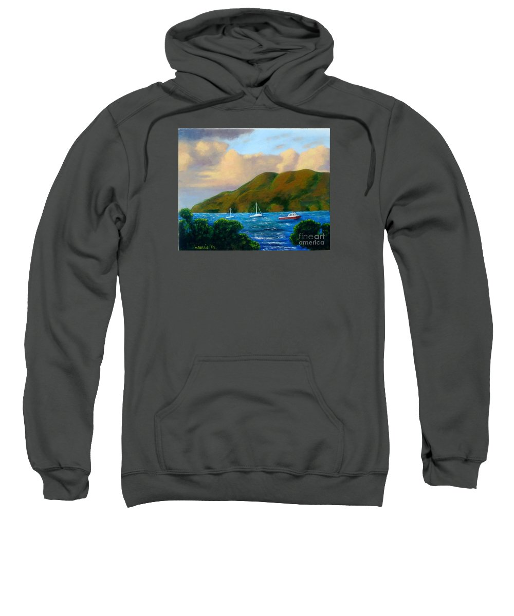 Sunset Sweatshirt featuring the painting Sunset On Cruz Bay by Laurie Morgan