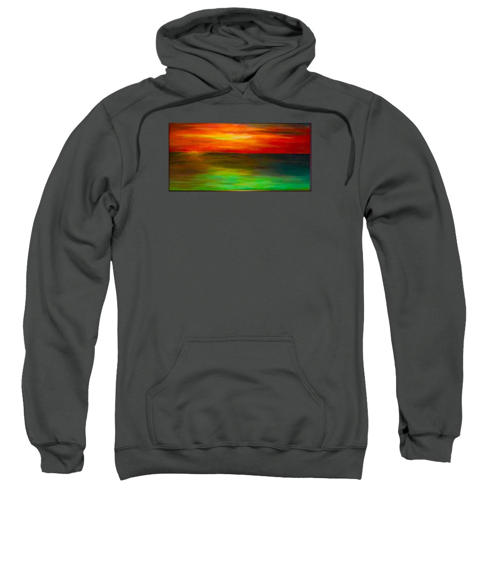 Sunset Sweatshirt featuring the painting Sunset On The Gulf by Brad Mullins